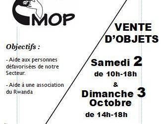 Brocante organisée par MOP les 2 et 3 octobre