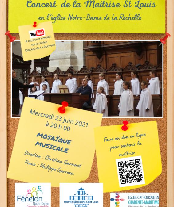 Le chœur d'enfants de la maîtrise Saint-Louis en concert le 23 juin à La Rochelle
